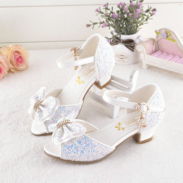 e2315c42a7cc New style Bowtie kids girls sandals high heel children shoes summer princess  sandal butterfly shoes wedding party shoes for girl