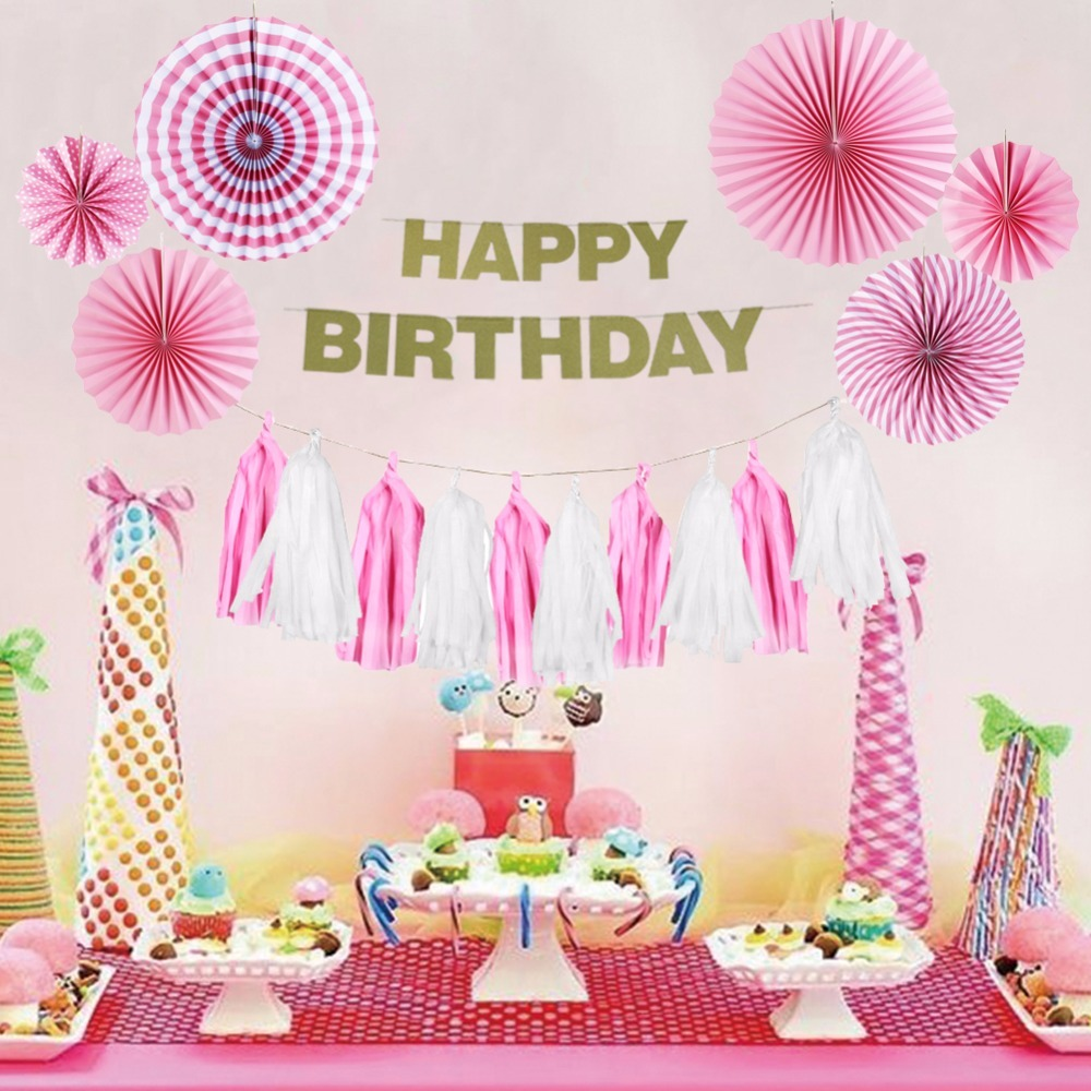 Pink Theme Birthday Party Decoration Happy Birthday Girl