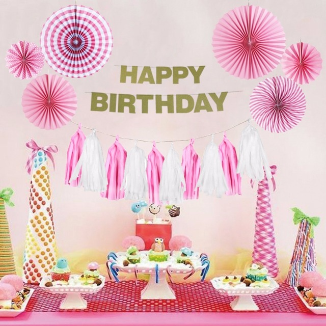 Pink Theme Birthday Party Decoration Happy Girl Supplier DIY Baby Shower Event Supplies 9pcs