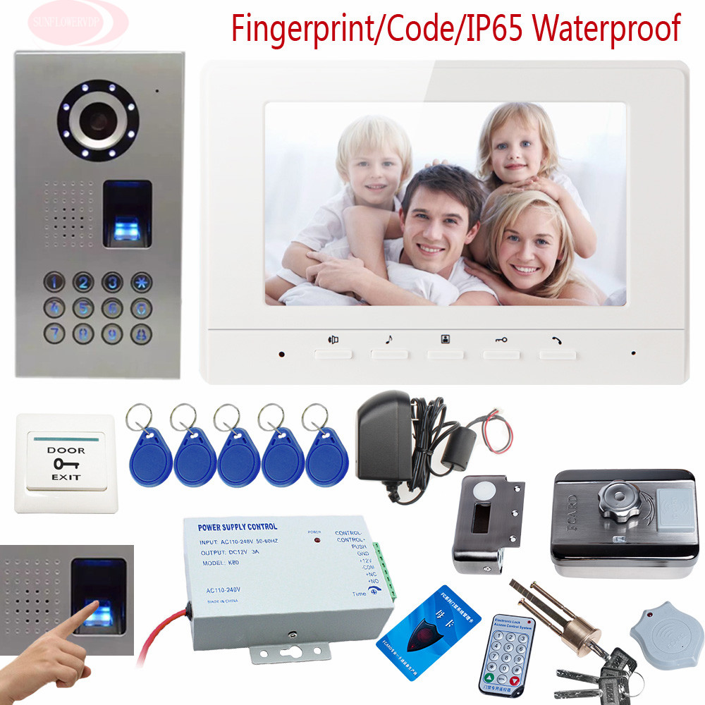 Fingerprint/Code 7 Color Screen Video Door Intercome Phone IP65 Waterproof Outdoor Intercom System Rfid Electronic Lock Kit color ring inductance 0307 3 9uh a03073r9 color code 20