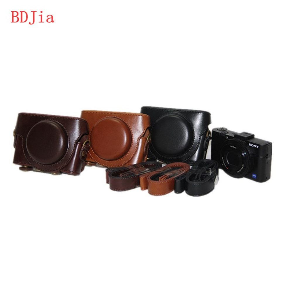 New PU Leather Oil Skin Camera Case Bag Cover for Sony RX100M5 RX100IV RX100III RX100II RX100 Camera With Shoulder Strap