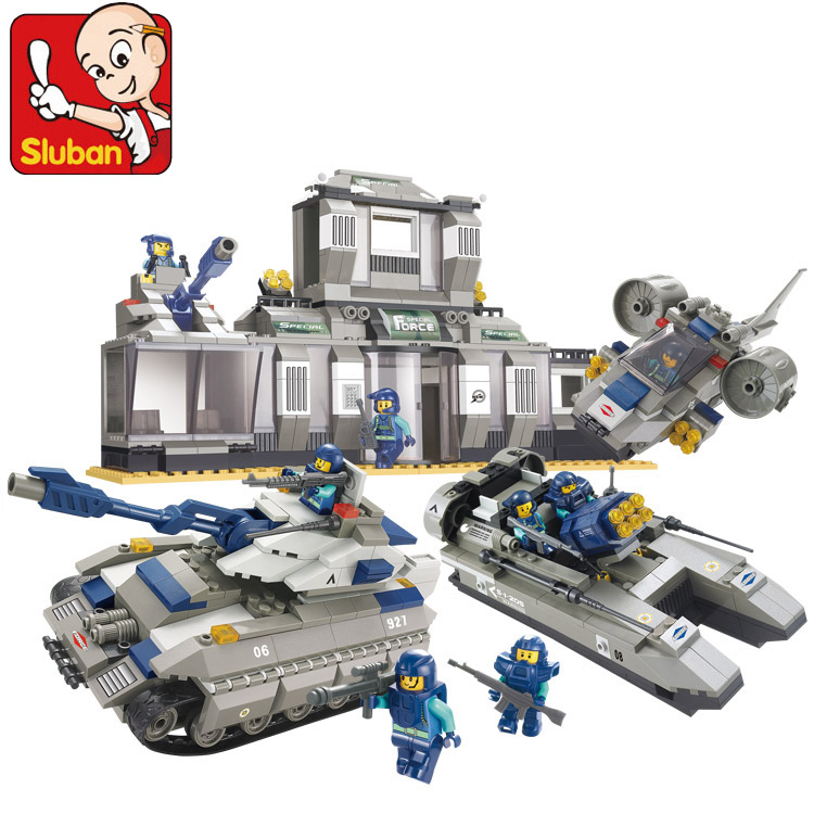 SLUBAN 2017 New 0211 SWAT Special Force Police Headquarters building blocks set kids gift bricks toys Free Shipping new fx2n 4da special function blocks