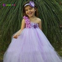Ksummeree Girls Flower Tutu Dress with Headband Lavender Lilac Flower Dress Wedding Bridesmaid Photo Props Costume TS122