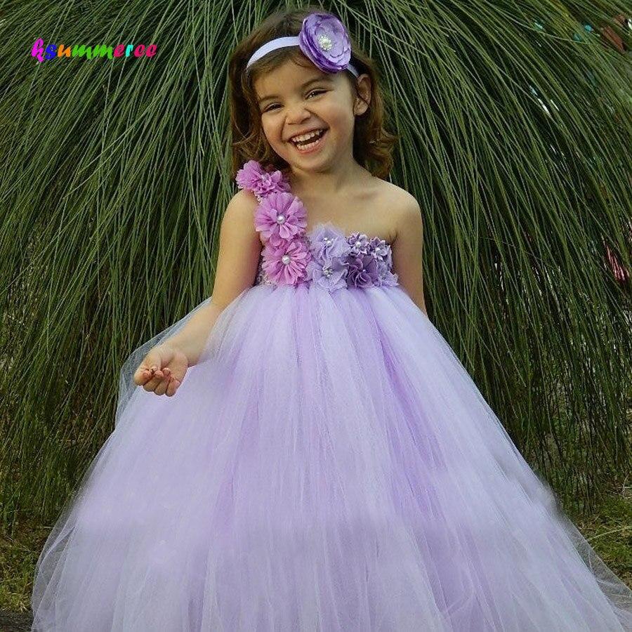 Lila Jurk Bruiloft.Ksummeree Meisjes Bloem Tutu Jurk Met Hoofdband Lavendel Lila Bloem