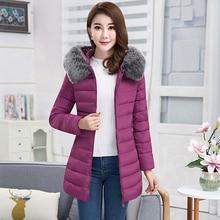 купить 2018 New Fashion Women Winter Jacket With Fur collar Warm Hooded Female Womens Winter Coat Long Parka Outwear Camperas по цене 1462.85 рублей