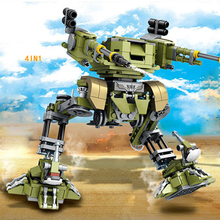 World war modern military 4in1 mecha robot building block army force figures Armored car fighter bricks toys for kids gifts