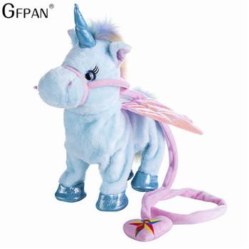 Śmieszne zabawki elektryczny chodzący pluszowy jednorożec wypchane zwierzę zabawka elektroniczna muzyka jednorożec zabawka dla dzieci prezenty świąteczne tanie i dobre opinie GFPAN Pp bawełna 5-7 lat Dorośli 8 ~ 13 Lat 35cm 31 cm-50 cm Fantasy i sci-fi Zwierzęta i Natura