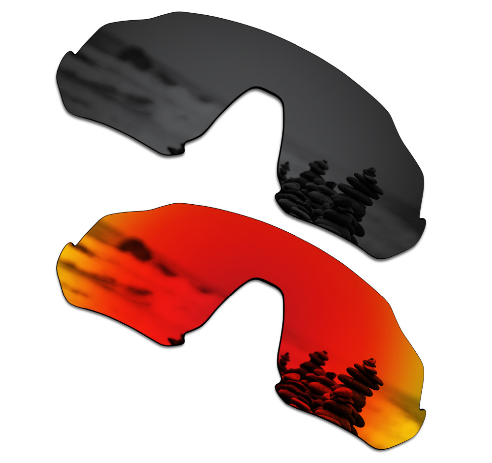 SmartVLT 2 Pieces Polarized Sunglasses Replacement Lenses for Oakley Flight Jacket Stealth Black and Fire Red