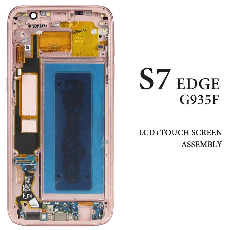 3e03d082276 AMOLED G935 G935A G935F pantalla para Samsung Galaxy S7 borde pantalla LCD  con marco digitalizador Asamblea reemplazo de teléfono de repuesto