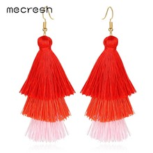 Mecresh Bohemia Gradient Long Tassel Earrings for Women Fashion Jewelry Ethnic Statement Fringe Dangle Earrings 7 Colors EH1182(China)
