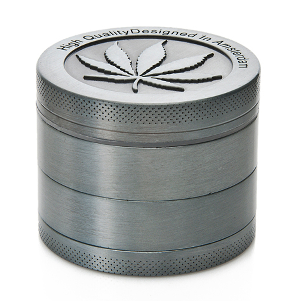 Zinc 4-Layers Spice Tobacco//Weed Smoke Metal press Leaf Design With Scoop Gray