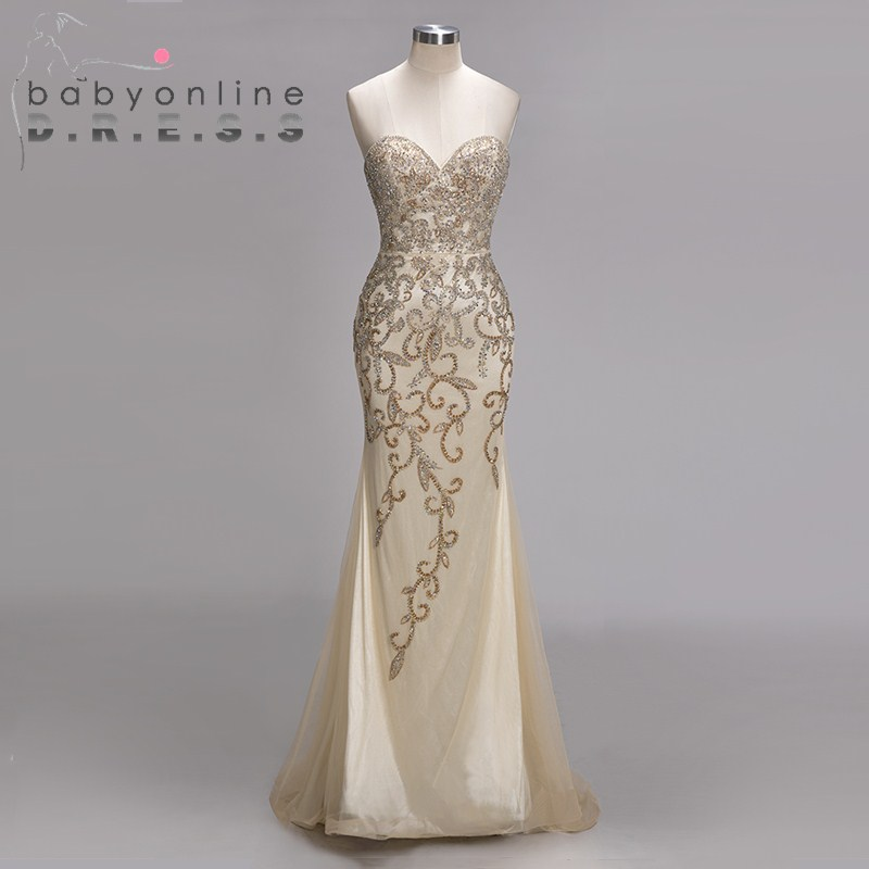 Sexy Heavy Beaded Crystal Long   Prom     Dresses   Elegant Sweetheart Neck Evening   Prom   Gown Sweep Train Party   Dress   Vestidos