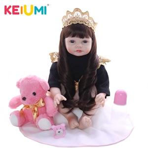 KEIUMI New 22 Inch Stuffed Doll Reborn Baby Dolls Princess Style Long Hair Bonecas Lifelike Dolls 55 cm Kids Gifts