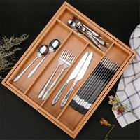 Expandable Cutlery Bamboo Drawer Organizer Cutlery Tray Kitchen Multi Functional Drawer Cutlery Storage Box