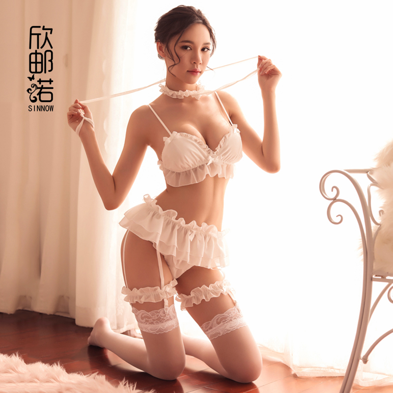 Sexy Bra Garter Set Sexy Lingerie Girls Sexy Lace Underwear Set  Bra + Panties + Garters +Leg Ring Lace Cute Maiden Sexy Bra