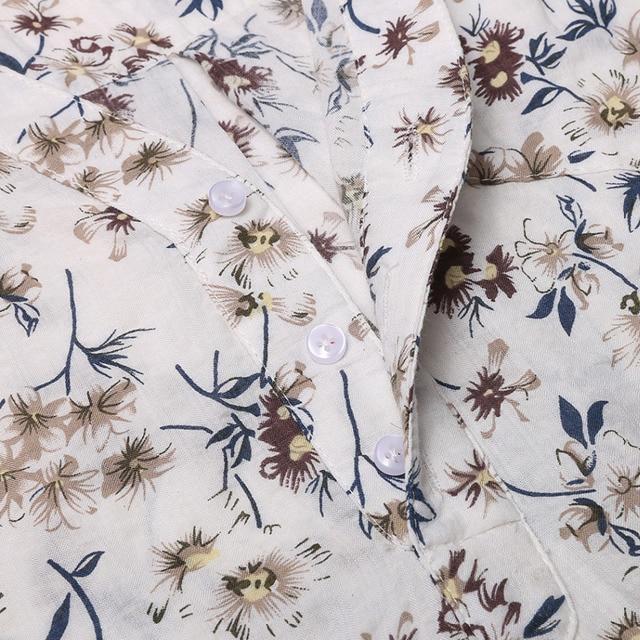 New V-Neck Floral Print Cotton Shirt For Women