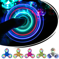 Crystal Clear LED Hand Spiner Tri Fidget Spinner Flash Light EDC Finger Spinner For Autism Relief Focus Anxiety Stress Kids Toys
