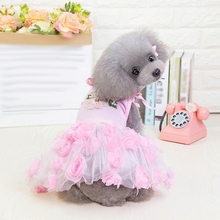Fashion Summer Tutu Dress Mesh Stripe Princess Dresses Pet Yarn Skirt Clothing Supplies S-XXL Z