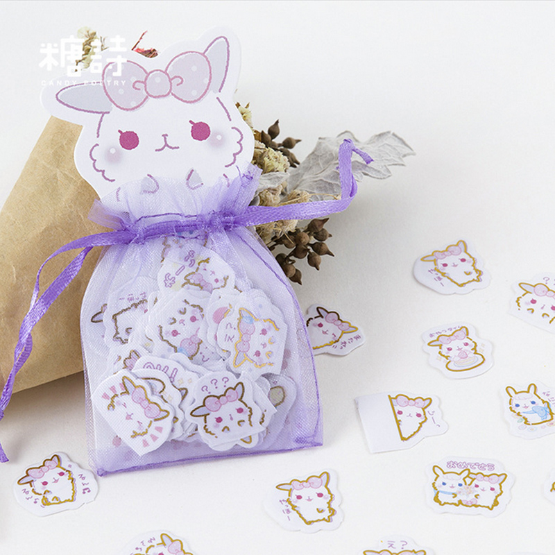 100 pcs/lot Cute animal rabbit mini paper sticker DIY diary decoration sticker for planner album scrapbooking kawaii stationery diary handbook decoration animal post stamper silicone rubber stamp for scrapbooking album design for diy photo paper card craft