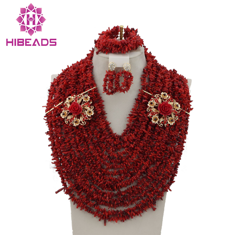 High Quality Fashion Red Coral Beads Jewelry Set African Beads Necklace Set Fashion Costume Jewelry Set Free Shipping CRN219 free shipping 2017 fashion red coral beads jewelry set charms red twisted strands african jewelry set high quality cnr132
