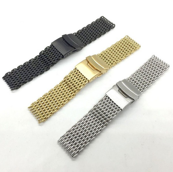 1PCS 18MM 20MM 22MM 24MM Solid Stainless steel 304 watch strap Watch band watch bands Mesh Web Watch Strap watch band 22mm new mens black pure polished solid stainless steel watch bands strap bracelets free shipping