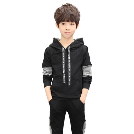 Boy sports suit 2018 new children's spring and autumn casual suit big boy sweater boy two-piece tide kimocat boy and girl high quality spring autumn children s cowboy suit version of the big boy cherry embroidery jeans two suits