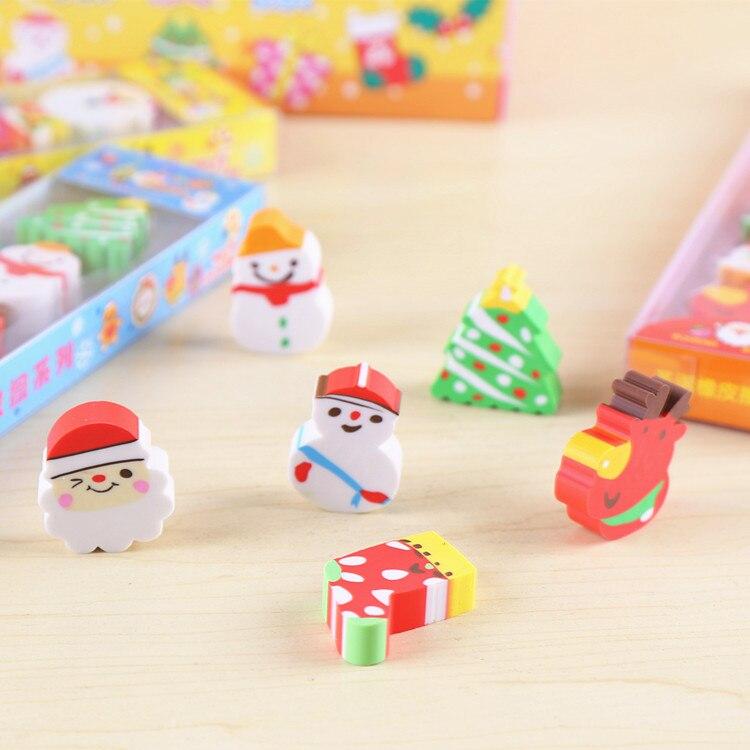 Christmas Theme Eraser Set Snowman Christmas Three