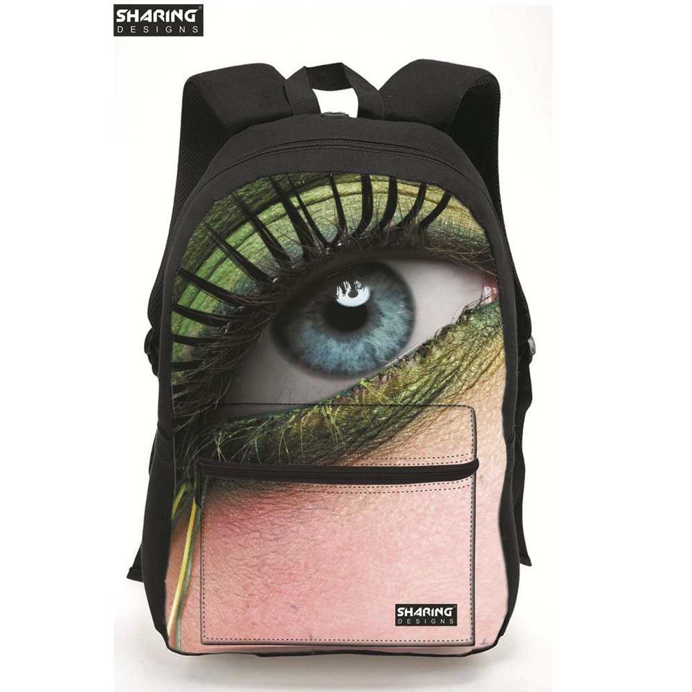 Designer 2016 Children School Bags Cool Canvas High Student Boys Schoolbag 3D Eye Print Kids Bookbag