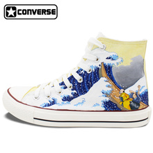 2016 New Shoes Converse Japanese Ukiyoe Hand Painted High Top Canvas Shoes Personalized Gifts Unique Sneakers Man Woman
