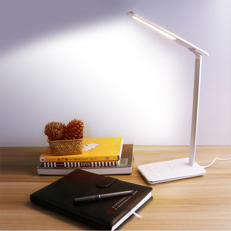 New Multi-function LED Table Lamp Foldable 4 Color Temperature Book Light Mobile Phone Wireless Smart Charging USB Output
