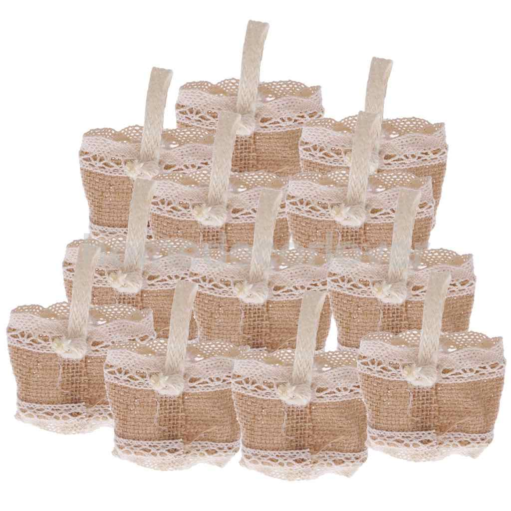 12pcs Vintage Jute Burlap Small Sweets Candy Bags With
