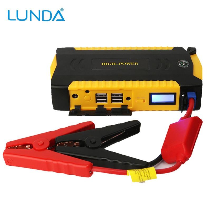 Prix pour LUNDA 600A Pic Portable Voiture Jump Starter Power Bank Batterie Booster avec 4 USB Port de Charge LCD Écran