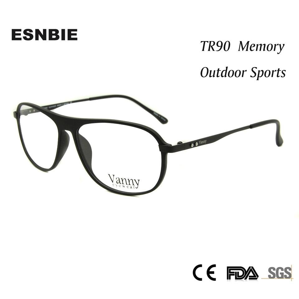ESNBIE TR90 Memory Mens Spectacles Frame Eyeglasses Male Glass Pilot  Glasses Frames Women Optical oculos de grau masculino 3498be59b56