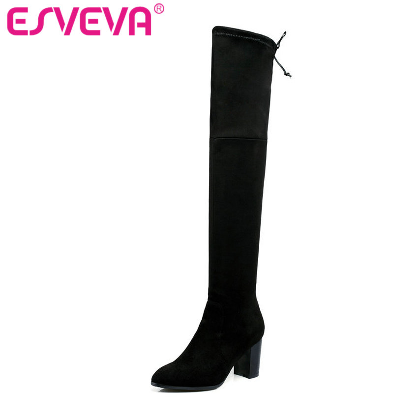 ESVEVA 2018 Western Style Flock Women Boots Over The Knee Boots Winter Square High Heel Ladies Lace Up Fashion Boots Size 34-43 esveva 2017 western style flock women boots over the knee boots winter square high heel ladies lace up fashion boots size 34 43