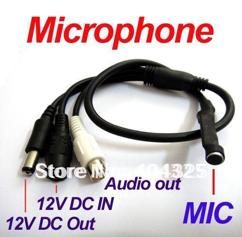 Mini Mic Audio CCTV Microphone Cable RCA Output for DVR Cameras