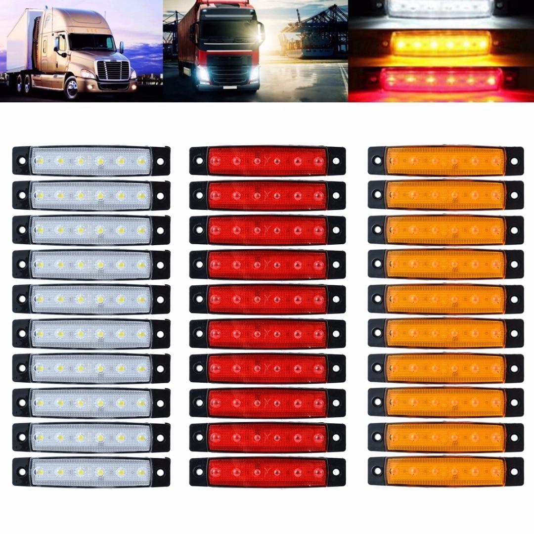 30pcs/set 24V 6LED Truck Trailer Bus Side Marker Indicators Light Red+White+Yellow External Lights for Auto Car