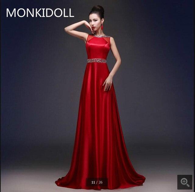 vestido de novia rojo de raso una línea de vestido de noche sin