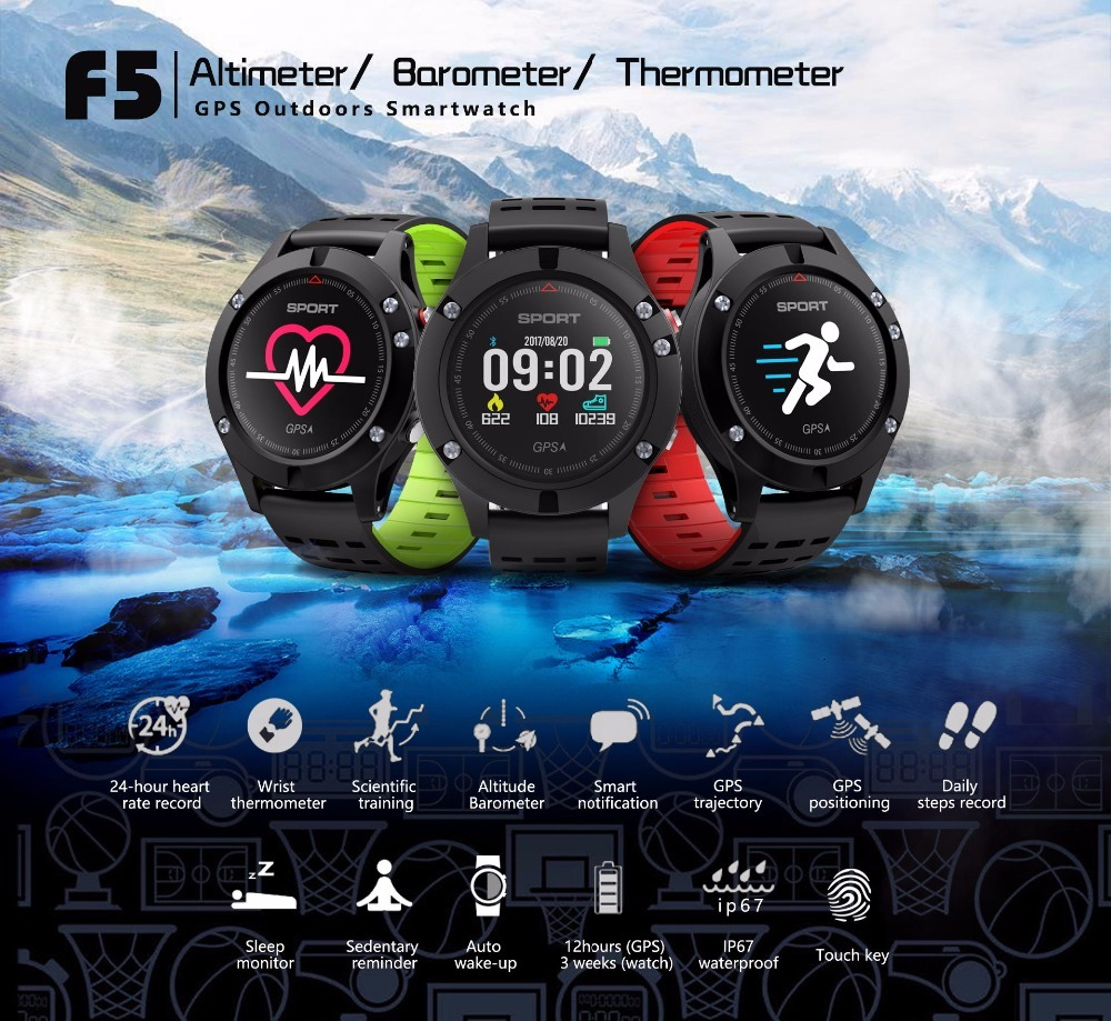 696 Newest F5 GPS Smart Band Heart Rate Monitor Altitude Meter Thermometer Pedometer Wristband with OLED Color Screen