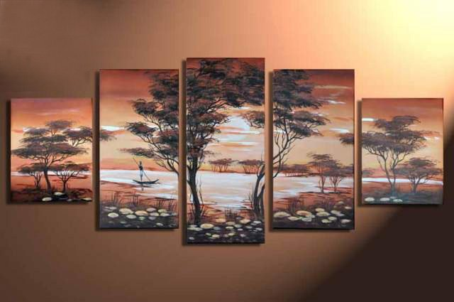 hand-painted wall art  African forest lake the boat home decoration abstract  Landscape oil painting on canvas 5pcs/set mixorde