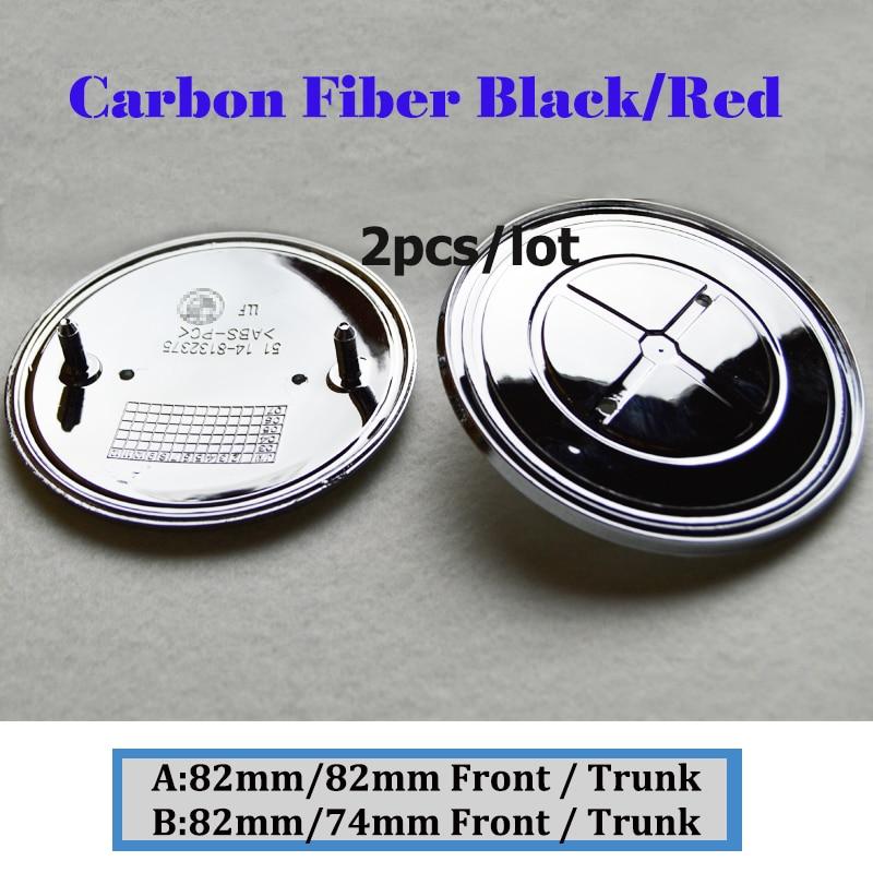 2pcs Carbon Fiber Black Red Front Bonnet Emblem Boot Label 82mm/74mm Head Hood Logo Badge/Trunk Logo Cover
