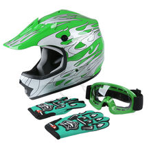 Youth Kids Green Flame Dirt Bike ATV Motocross Offroad Helmet MX Goggles S M L