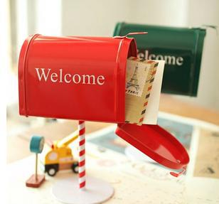 Good quality Vintage style double color post box tin box Mail storage box creative birthday gift free shipping