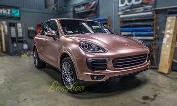 Hot Sale 1.52x18m High Stretchable Matte Satin Chrome Metallic Car Wraps Rose Gold Adhesive Vinyl