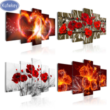 Red Flora diamond painting 5 Panel diamond embroidery mosaic picture of rhinestones cross stitch home decoration Multi pictures