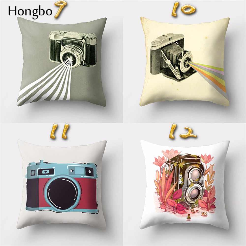 Retro Cushions Hongbo 1 Pcs Vintage Camera Cushion Cover Retro Home Decor Throw Pillow Case Sofa Cushions Covers