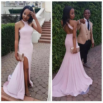 Glamorous Halter Mermaid Bridesmaid Dresses Simple Pink Side Split frican Bridal Prom Dress Party Gowns Maid Of Honor Dress