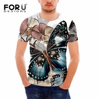 FORUDESIGNS 2017 Animal Butterfly Print Men S T Shirt Spring Summer Short Sleeved Casual Tee Shirt