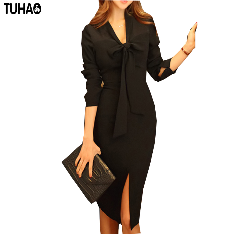 Detail Feedback Questions about 2018 Autumn female Office Dress Long Sleeve  Knee Length Pencil Work Dress RETRO Women Black sexy women s Dresses JC03  on ... 871ac5ee04b2