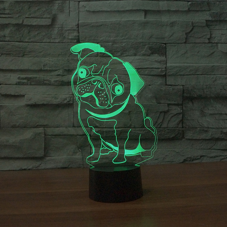 Baby Sleep Lighting Bedroom Decoration Usb Visual 3D LED Pug Dog Modelling Table Lamp Kids Bedside Night Light Luminarias Gifts 3d led table lamp kids bedroom bedside sleep playing football modelling touch button usb home decor soccer player night lights