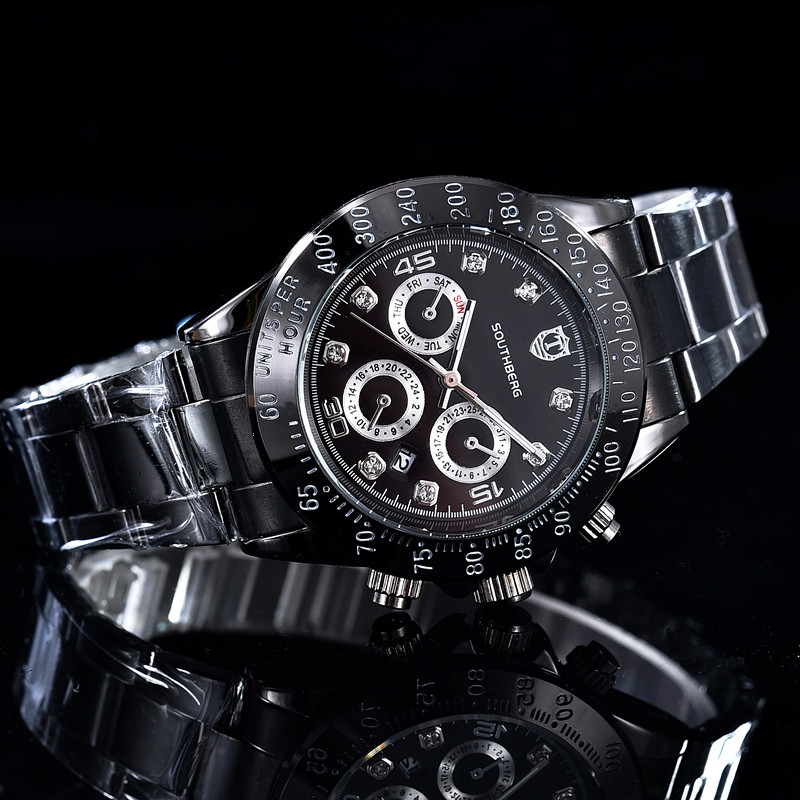 2017 SOUTHBERG GMT Luxus Marke daytona Uhr Männer Casual Männlichen Uhren Business Sports Military Edelstahl Uhr